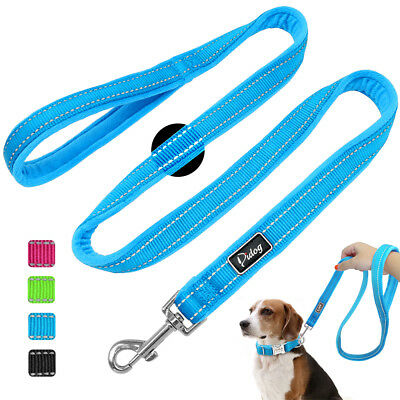 Reflective Nylon Dog Leash with Soft Fleece Lined 4FT Long Black Blue Pink Green