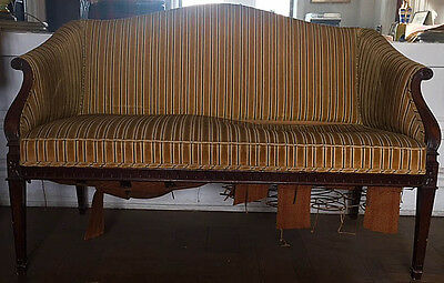 Antique Mahogany Camelback Sofa Loveseat Settee Canape Louis XVI Style AS IS