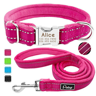 Reflective Personalized Nylon Dog Collar and Leash Fleece Lined Dog ID Nameplate