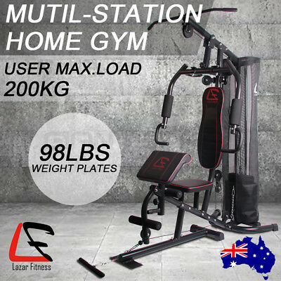 Multi Home Gym Station Bench Press Preacher Cable Machine Back Equipment 98LBS