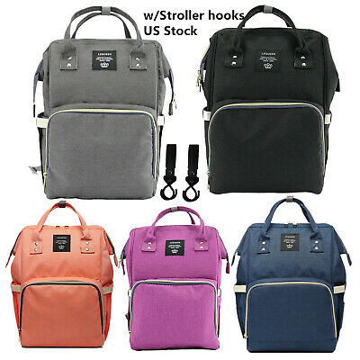 Mummy Diaper Bag Multifunction Maternity Baby Nappy Backpack 2pc Stroller Hooks