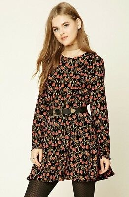 NWT New Forever 21 Floral Print Skater Dress Small S