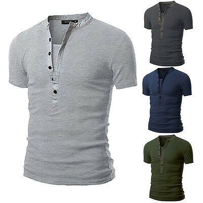 New Men's Slim Fit V Neck T-shirt Muscle Tee Casual Tops Short Sleeve Blouse