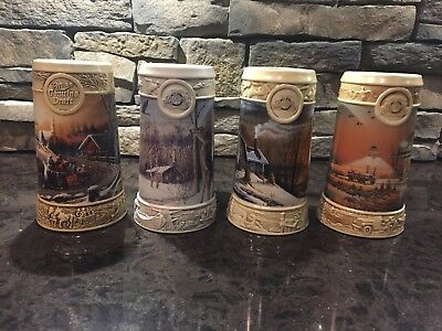 Miller Steins Set of 4 Ducks Unlimited Terry Redlin Collection MINT