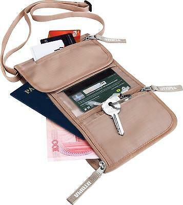 Neck Wallet Pouch RFID Security Travel Money Belt Passport Holder by Utopia Home