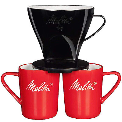 Melitta 6761205 Pour Over Coffee 1 x 4 Filter Cone & Porcelain Cups