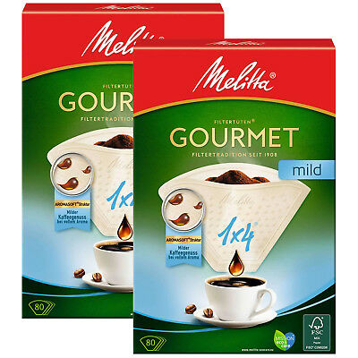 MELITTA Genuine Gourmet Mild 1x4 Type Paper White Coffee Filters x 160