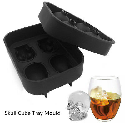 HOT Silicone 3D Skull Shape Ice Cube Trays Mold Mould Cocktails Whisky Maker 5.0