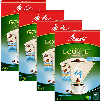 MELITTA Genuine Gourmet Mild 1x4 Type Paper White Coffee Filters x 320