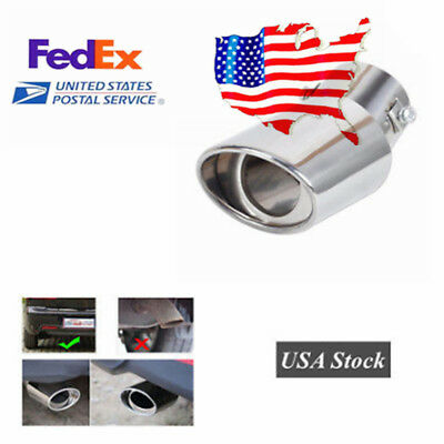 1pc Round Car Chrome Exhaust Tail Muffler Tip Pipe - Stainless Steel (USA Stock)