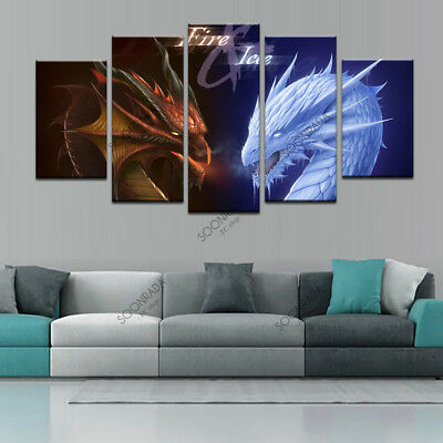 HD Printed Modern Wall Art Picture Fire Ice Dragon Fantasy For Home Decor