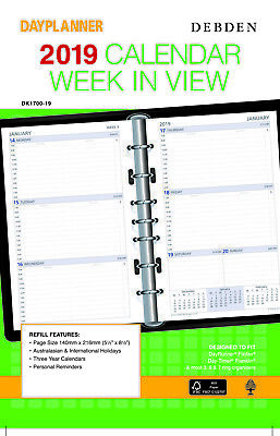 Diary 2019 Debden DayPlanner REFILL Desk Week in View DK1700 140x216mm