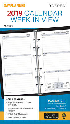 Diary 2019 Debden DayPlanner REFILL Personal Week in View PR2700