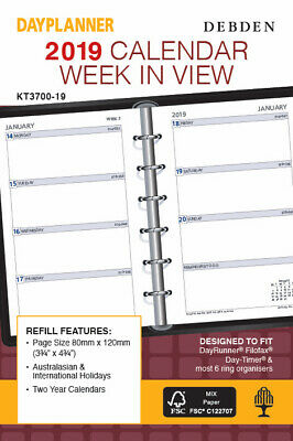 Diary 2019 Debden DayPlanner REFILL Pocket Week in View KT3700 8x12cm