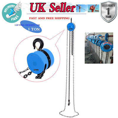 1Ton Chain Hoist Block Heavy Duty Tackle Winch Engine Lifting 3m Puller CE