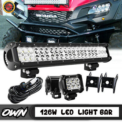 "20/"" Led Light Bar 126w+wiring kit FOR UTV Yamaha Rhino Kawasaki 660 700 ATV"