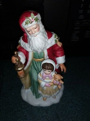 Vintage Santa Porcelain Figurine Collectible Santa & Girl with Teddy Avon 1995