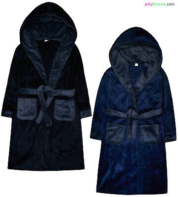 Boys Dressing Gown New Kids Fleece Hooded Bath Robe Black Navy Ages 7 - 13 Years