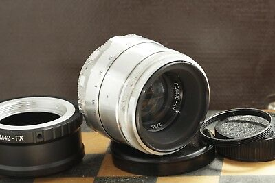 KMZ Helios 44 silver 2/58mm, 8 blades M39/M42 for SLR + adapter for FujiFilm FX