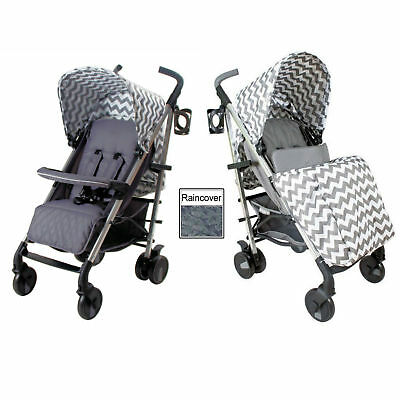 New My Babiie Slate Grey Chevron Mb51 Pushchair Compact Stroller With Raincover