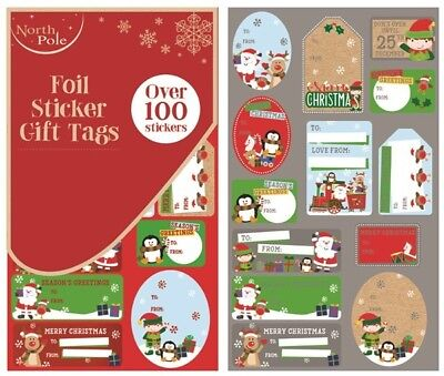 ** Christmas Cute Design Foil Sticker Gift Tags Over 100 Stickers Xmas New **