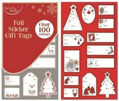** Christmas Contemporary Design Foil Sticker Gift Tags Over 100 Stickers Xmas