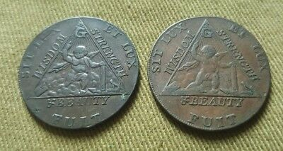 Pair Masonic. Antique Very Rare 1790 Prince Of Wales Elected Grand Master Coin.