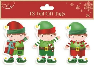 12 Foil Gift Tags Christmas Elf Various Designs Xmas Present Wrapping Supplies