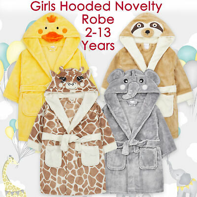 Girls Childrens Plush Fleece Giraffe Novelty Dressing Gown Robe Elephant Sloth