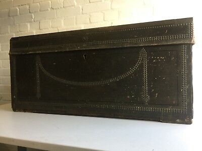 Antique Georgian Camphor Leather And Brass Stud Bound Military Travel Trunk