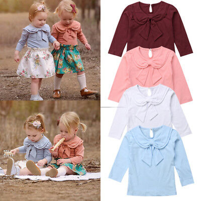 Toddler Kids Baby Girl Solid Color Tops Casual Bowknot T-shirt Blouse Clothes