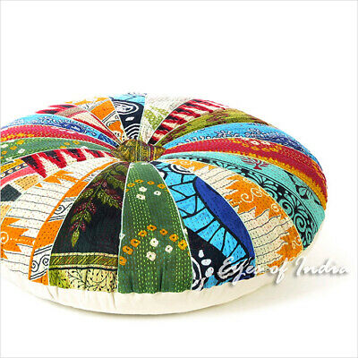 """32"""" Colorful Round Decorative Kantha Floor Pillow Cover Cushion Seating Throw In"""