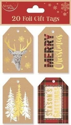 20 Foil Gift Tags Christmas Stag Tree Xmas Gift Wrapping Present Various Designs