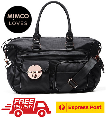 Mimco Lucid Nappy Baby Bag + Change Mat Black Bnwt Rrp$299-Free Express Post