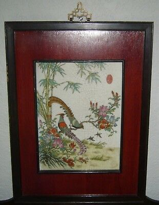 Antique Chinese Famille Rose Pheasants Enameled Painting Framed Porcelain Plaque