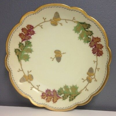 PICKARD Ivory Red Green Gold Trim Scalloped Round Acorn Collectible Plate SR