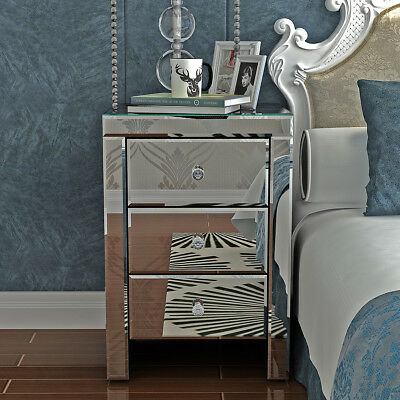 3 Drawers Mirrored Bedside Cabinets Table Chest Diamond Glass Bedroom Nightstand