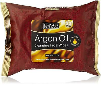 30 x ARGAN OIL FACE CLEANSING WIPES Make Up Eye Shadow Removal Deep Pore Cleaner