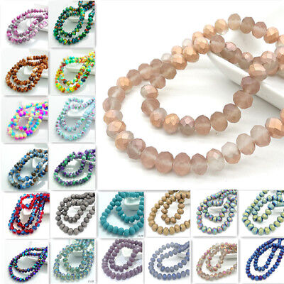 40pcs Rondelle Faceted Crystal Glass Loose Beads Jewelry Making 8x6mm Multicolor