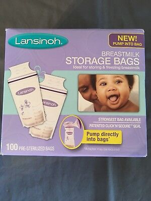 Lansinoh Breastmilk Storage Bags 100 Bags BPA BPS Free Pre Sterilized Freeze New