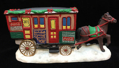 Coca Cola Figurine Horse Pulling Lunch Wagon Cart Christmas Town Square 1995