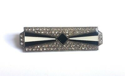 Vintage Pierre Bex Sparkling Art Deco Jewellery Enamel Bow Bar Brooch Pin