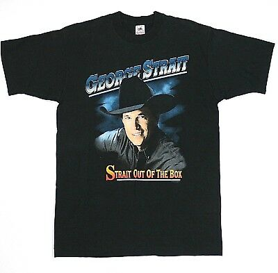 George Strait Out Of The Box Tour Concert Shirt Large Black Cotton USA Made VTG