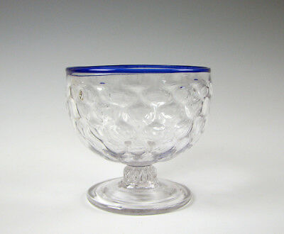 Antique Mold Blown 16 Diamond Pattern Molded Bowl Clear with Cobalt Blue Rim