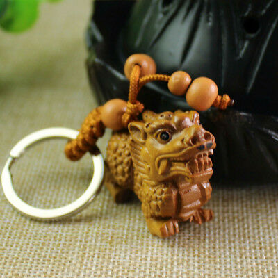 1Pc Wood 3D Carving Wealth Pixiu Pi Yao Statue Sculpture Pendant Lucky Key Chain