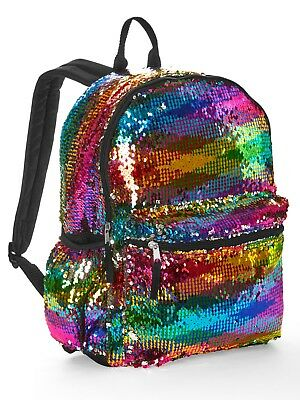 "Rainbow 2-Way Sequins 16"" Backpack School Book Bag Tote Full Size"