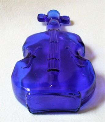 """8""""tall~Vint.~COBALT BLUE~Glass~VIOLIN~Shaped~FIGURAL~Old Bottle~Collectible~EUC"""
