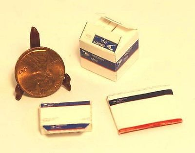 Dollhouse Miniature Group of 3 Priority Mail Boxes
