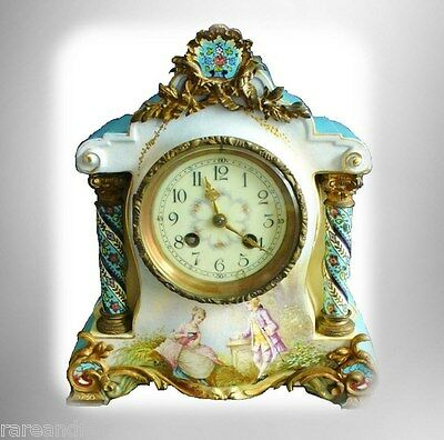 Sevres style French vintage hp porcelain clock - artist signed