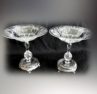 PAIR Pairpoint art glass control bubble compotes - silverplate bases